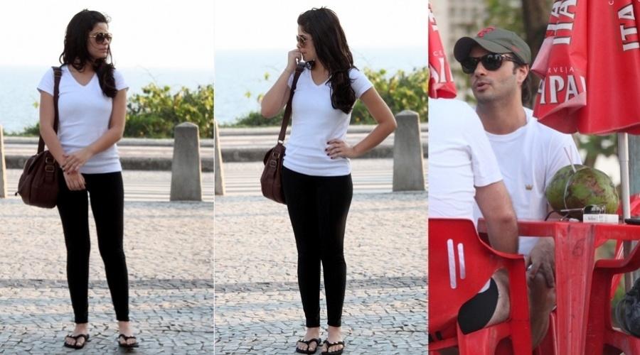 Vanessa Giácomo caminhou acompanhada de um moreno pela orla da praia da Barra da Tijuca, zona oeste do Rio (30/10/12). Ao perceber a presença do paparazzo, a atriz saiu de perto do rapaz e foi embora da praia enquanto ele sentou em um quiosque acompanhado de um amigo