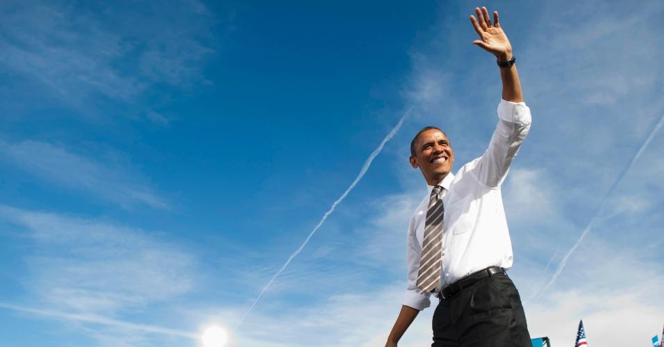 1º.nov.2012 - Presidente Barack Obama chega a comício em Las Vegas, Nevada