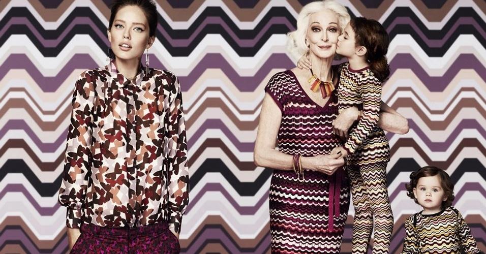Campanha da Missoni para Lindex com a modelo veterena Carmen Dell'Orefice e Emily Didonato