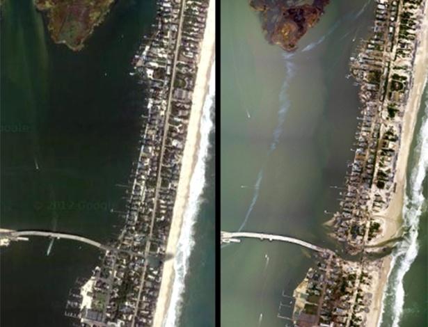 3.nov.2012 - Imagem à esquerda, extraída do GoogleMaps, mostra a região de Mantoloking, Nova Jersey, antes da passagem do furacão Sandy, com a lagoa Jones Tide totalmente isolada do oceano Atlântico. À direita, imagem divulgada hoje pela Noaa (Administração Atmosférica e Oceânica Norte-americana) mostra um corte na ilha costeira, abrindo uma nova ligação entre oceano e lagoa