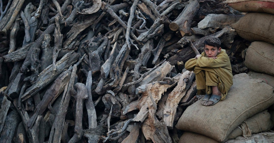 Menino senta em sacos de lenha empilhados enquanto espera clientes em Cabul, no Afeganistão