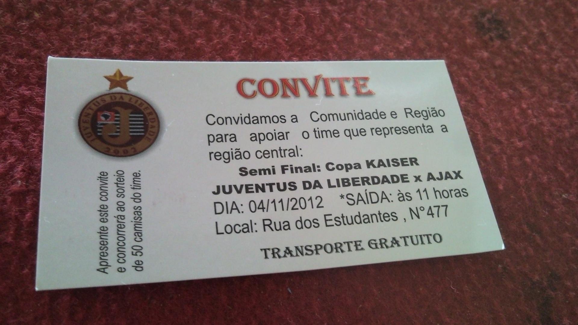Convite do Juventus da Liberdade para a semifinal da Copa Kaiser