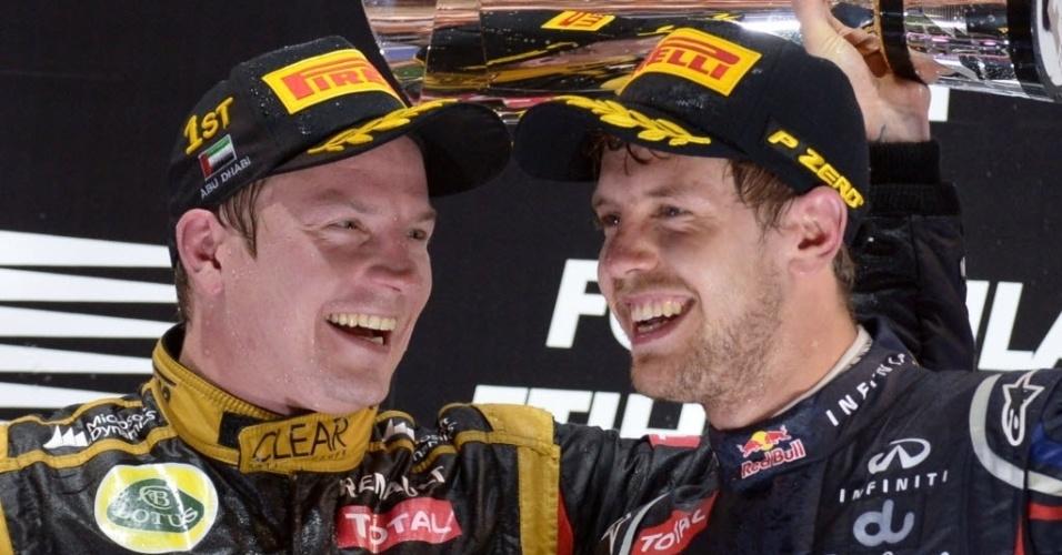 Destaques do GP de Abu Dhabi, Raikkonen e Vettel celebram no pódio