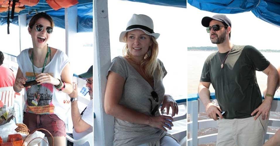 Atores convidados para o 9º Amazonas Film Festival tiveram a oportunidade de fazer o passeio de barco no encontro das águas dos rios Negro e Solimões, em Manaus. Entre eles, estavam Giselle Batista, Luciana Vendramini e Bruno Garcia (5/11/2012)