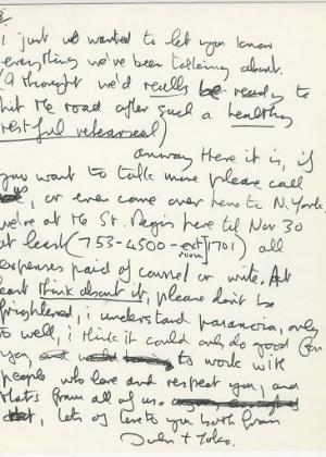 Carta de John Lennon para Eric Clapton, que vai a leilão em dezembro