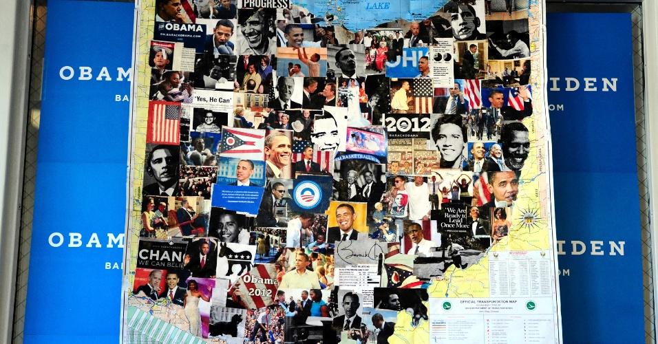 6.nov.2012 - Colagem de fotos do presidente Barack Obama foi montada dentro de um mapa de Ohio, em um escritório de campanha em Athens, Ohio. O Estado foi um dos mais visitados por Obama e Mitt Romney, candidato republicano, onde pesquisas preveem uma disputa acirrada e onde o pleito pode ser decidido