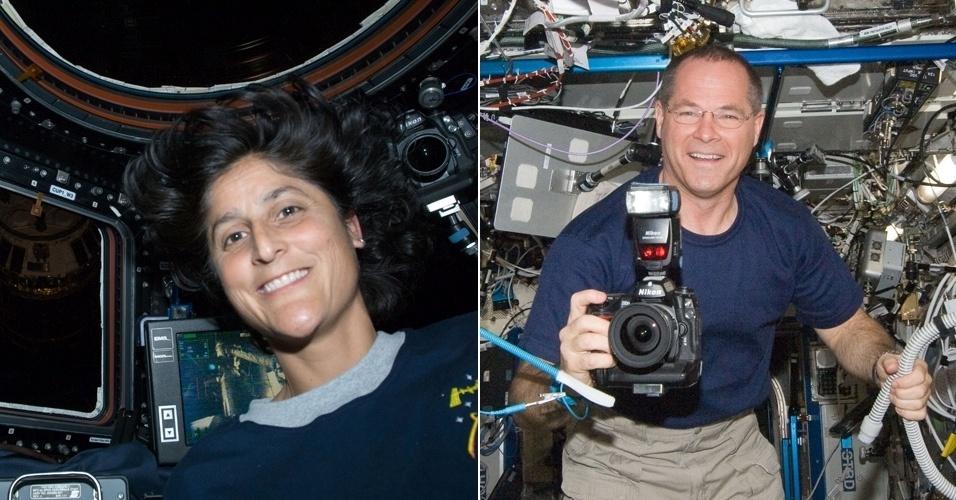 6.nov.2012 - Sunita Williams e Kevins Ford, astronautas americanos que estão na Estação Espacial Internacional (ISS, na sigla em inglês), votaram antecipadamente na Rússia, antes de viajarem ao espaço