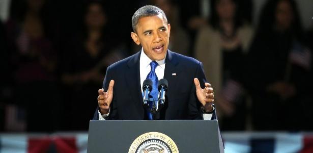 Presidente reeleito Barack Obama faz discurso da vitória em Chicago, Illinois, berço político do democrata