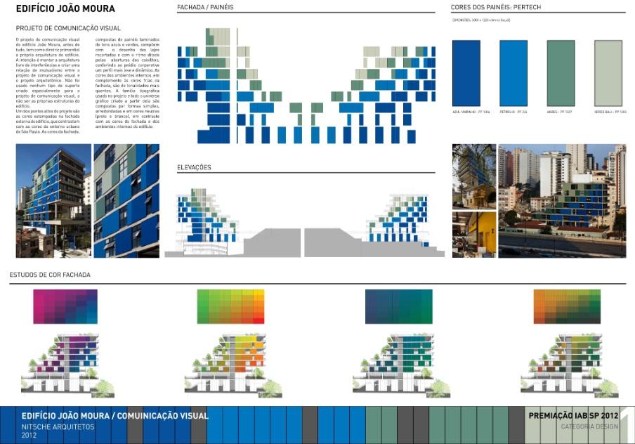 """Categoria Design - Comunicação Visual, prêmio """"Flávio Império"""": """"Edifício João Moura"""", design assinado por João Nitsche"""