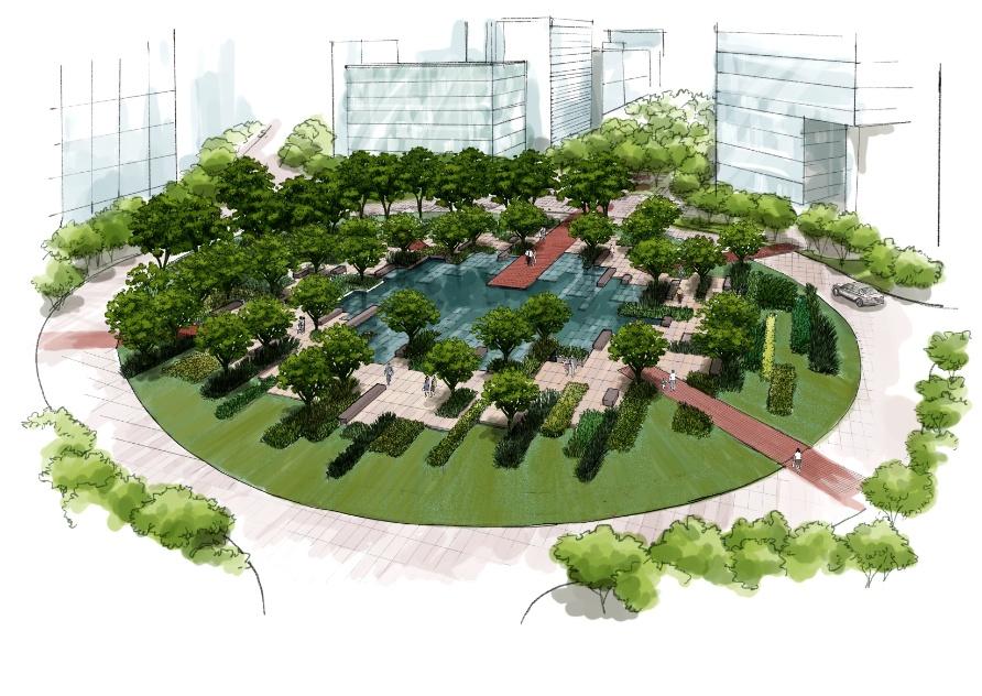 """Categoria Paisagismo - Projetos (menção honrosa): """"Empreendimento Centro Comercial Alphaville Brasília"""", assinado por Evani Kuperman Franco"""
