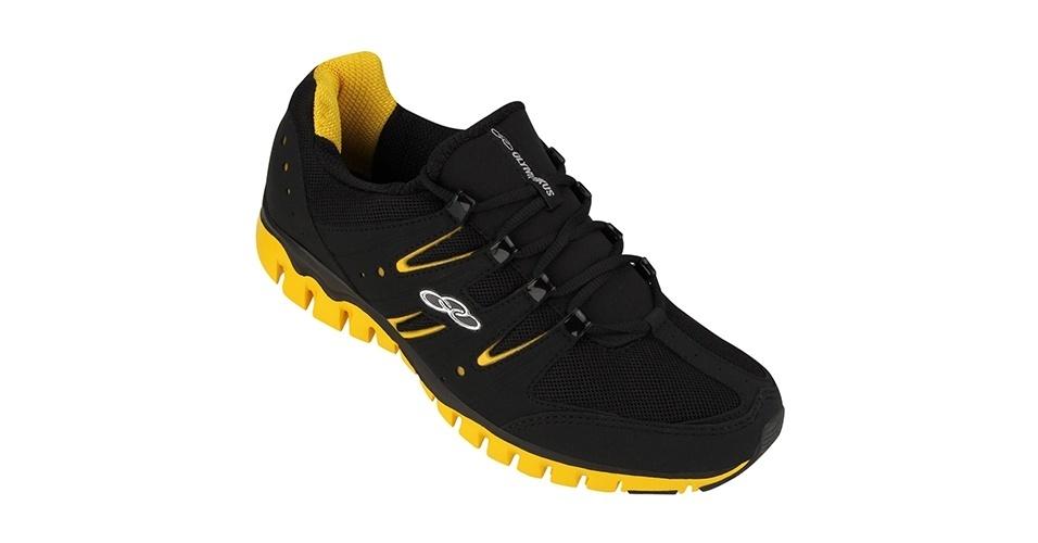 Tênis em preto e amarelo; R$ 159,90, da Olympikus, na Leader (www.leader.com.br). Preço pesquisado em novembro de 2012 e sujeito a alterações