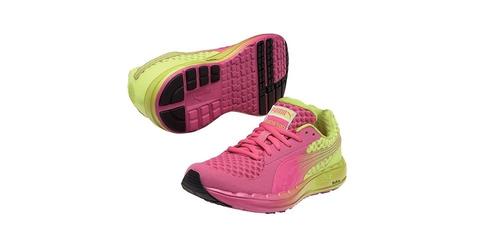 Tênis rosa e verde; R$ 369,90, da Puma (SAC: 0800 733 3900). Preço pesquisado em novembro de 2012 e sujeito a alterações
