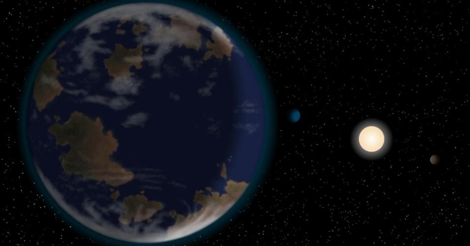 8.nov.2012 - Astrônomos internacionais divulgaram nesta quinta-feira (8) ter descoberto um possível planeta habitável fora do Sistema Solar. O HD40307g (à esquerda) fica a uma distância ideal (similar entre a Terra e o Sol) da estrela massiva e quente HD40307 (ponto brilhante à direita) para ter água em estado líquido na sua superfície