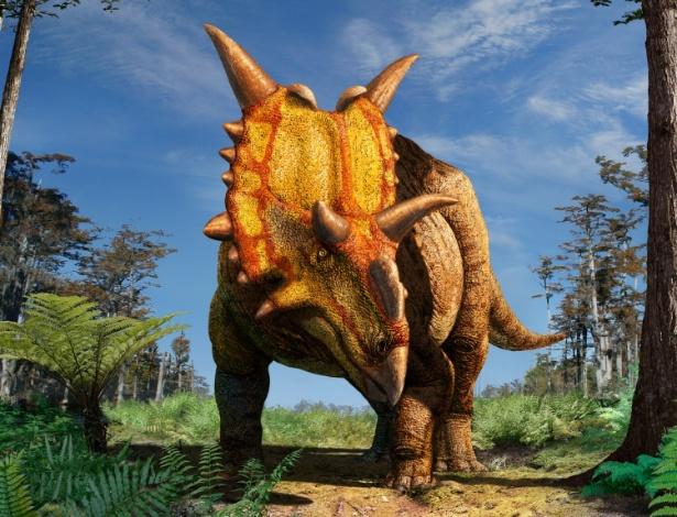8.nov.2012 - Imagem reconstrói o dinossauro de grande porte Xenoceratops foremostensis, que viveu há mais de 78 milhões de anos