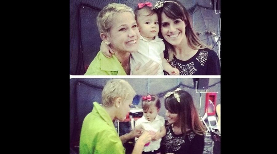 A atriz Fernanda Pontes levou a filha Malu para assistir as gravações do