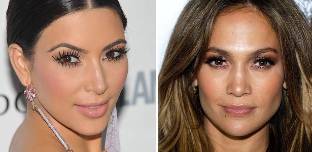 Adeptas da moda, Kim Kardashian e Jennifer Lopez exibem os cílios grudadinhos em tapetes vermelhos