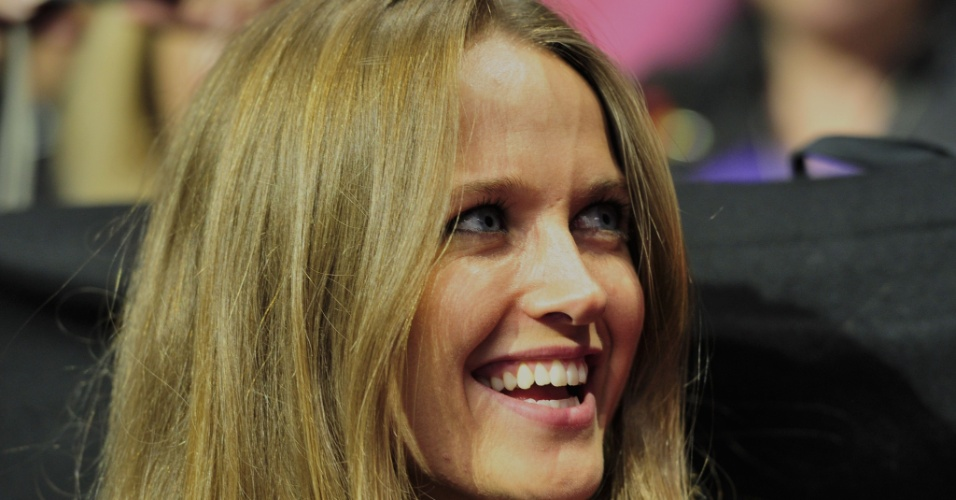 08.nov.2012 - Kim Sears, namorada de Andy Murray, durante jogo do tenista contra Novak Djokovic no ATP Finals