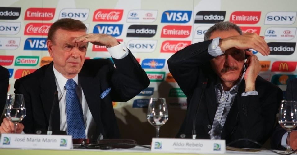 Presidente da CBF José Maria Marin e ministro Aldo Rebelo participam da coletiva que anunciou as seis sedes da Copa das Confederações