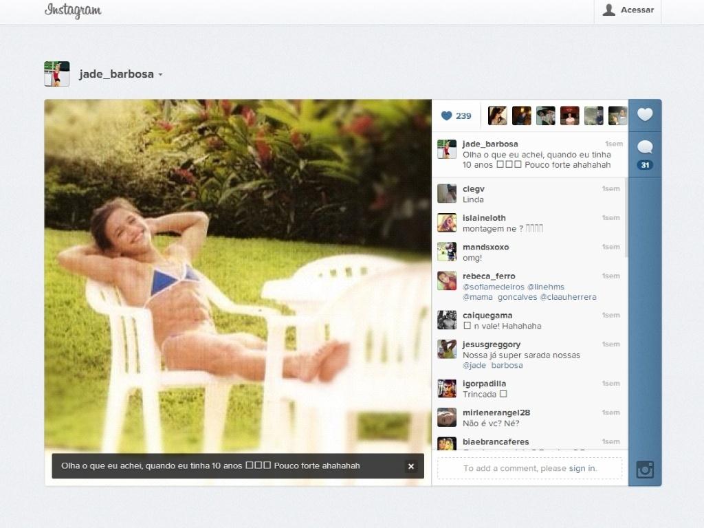 Reprodução da foto que Jade Barbosa postou em seu Twitter, mostrando seu corpo musculoso aos dez anos