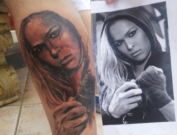 Fã tatua imagem da lutadora Ronda Rousey na perna