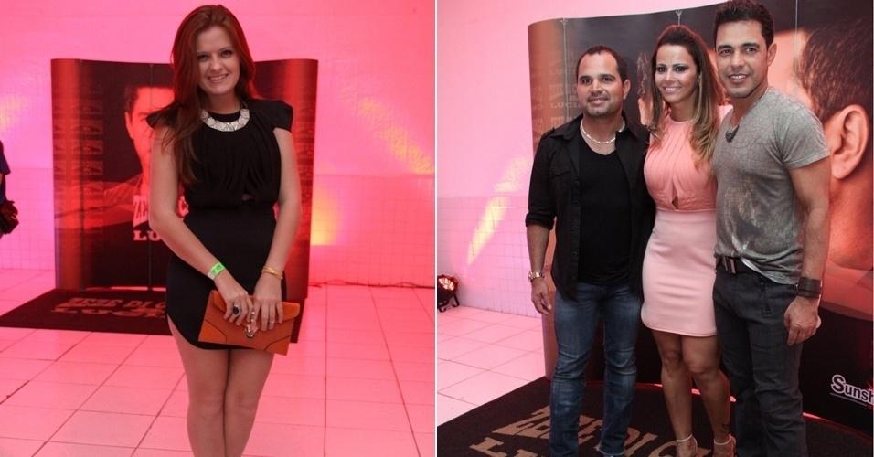 Julia Matos (à esq) e Viviane Araújo aparecem com o mesmo vestido de core diferentes no show da dupla Zezé Di Camargo (9/11/12)