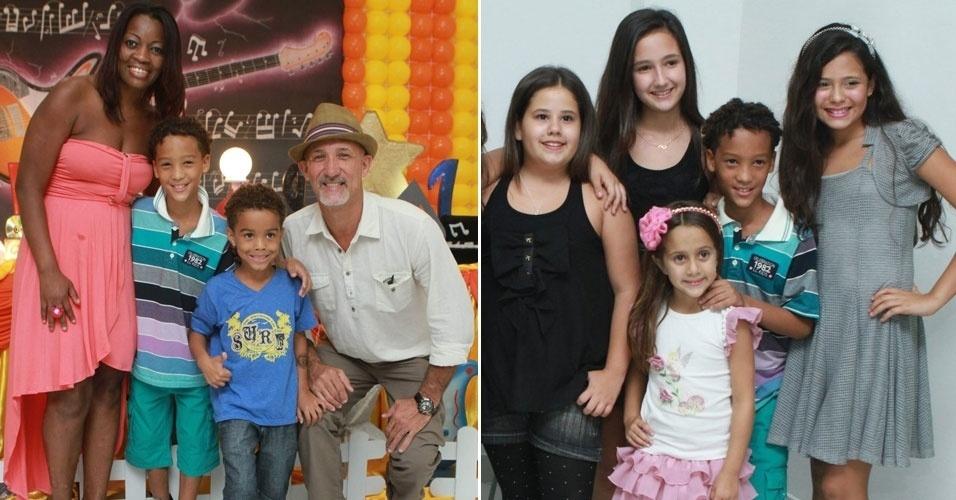"""Nicollas Paixão, da novela """"Cheias de Charme"""", comemora aniversário de 10 anos com família, a atriz Ana Karolina Lannes, a Ágata de """"Avenida Brasil"""", e amigos em Jacarepaguá, no Rio"""