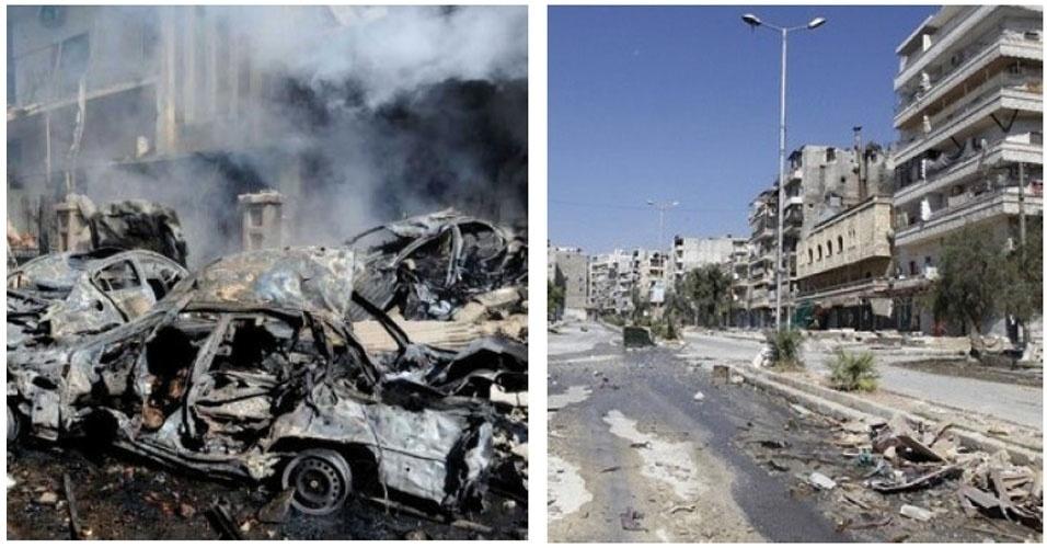 13.nov.2012 - No centro de Homs, na Síria, carros são constantemente vistos carbonizados após ataques e as ruas, desertas, ficam repletas de destroços