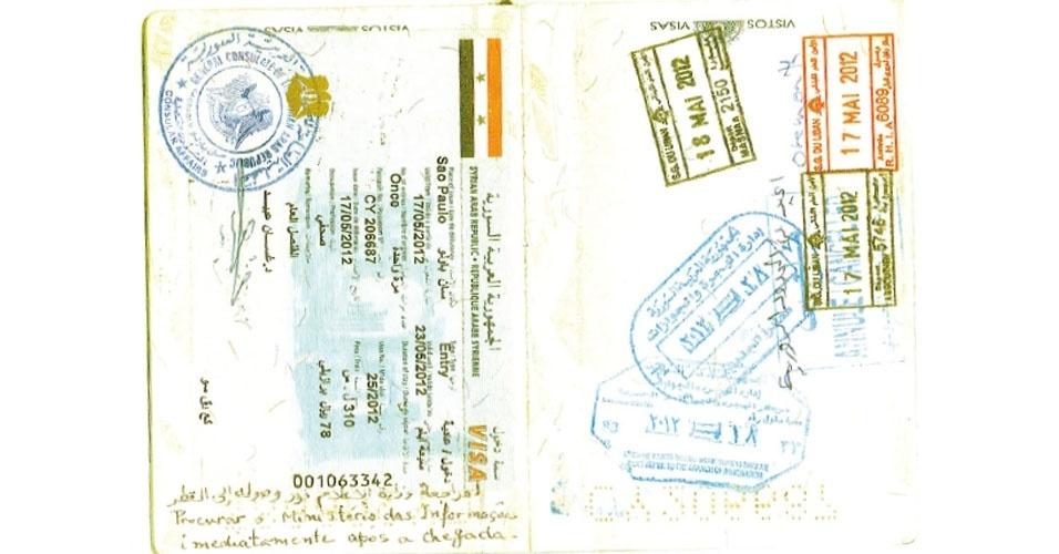 13.nov.2012 - O passaporte de Klester Cavalcanti registra o visto sírio autorizando a entrar no país, com um recado, escrito em português e em árabe, para que procurasse o Ministério das Informações imediatamente após a chegada. Ele resolveu desobedecer a orientação para não ser tolhido em suas reportagens, mas acabou preso