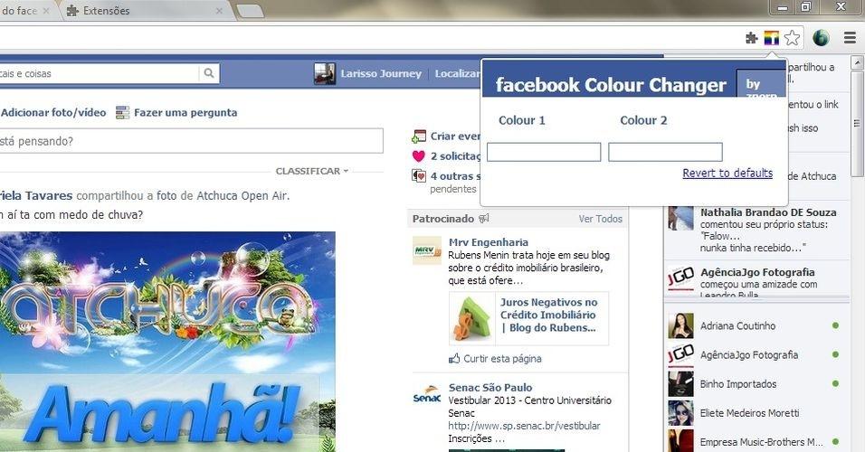 """Clique no ícone do Facebook colorido e uma caixa abrirá solicitando dois códigos de cores. Para saber qual escolher, utilize uma tabela de cores, clique em """"MAIS"""" para ver a tabela"""