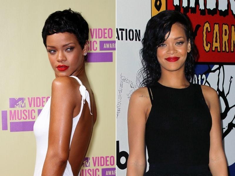 Rihanna de cabelos longos de novo