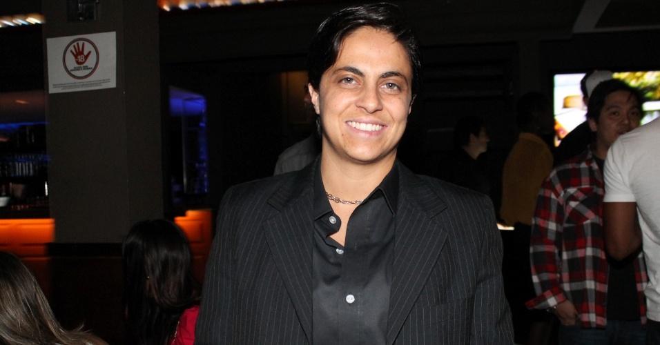 Thammy Gretchen esteve na festa de lançamento da grife FXB by Nicole Bahls, com show da dupla Marcos & Claudio, no Maevva, localizado no bairro do Itaim Bibi, em São Paulo. O vestido branco que ela usou no evento e outras peças foram desenhadas por ela (12/11/12)
