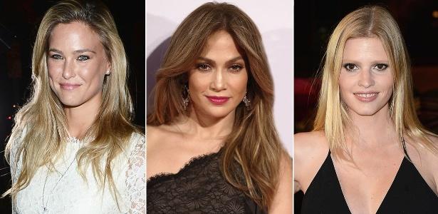 """Bar Rafeli, Jennifer Lopez e Lara Stone exibem pontas e comprimento sombreados, técnica conhecida por """"New Ombré Hair"""""""
