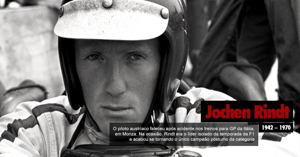 Jochen Rindt, piloto austraco que faleceu aps acidente nos treinos para GP da Itlia, em Monza