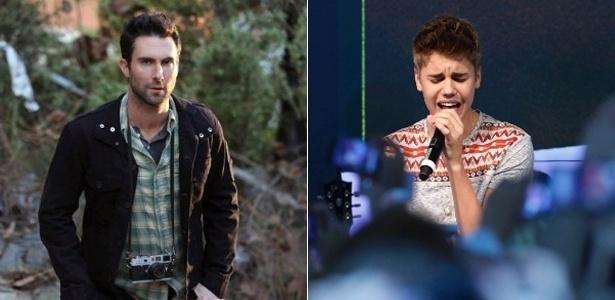 Os cantores Adam Levine e Justin Bieber, dois dos indicados do People's Choice Awards