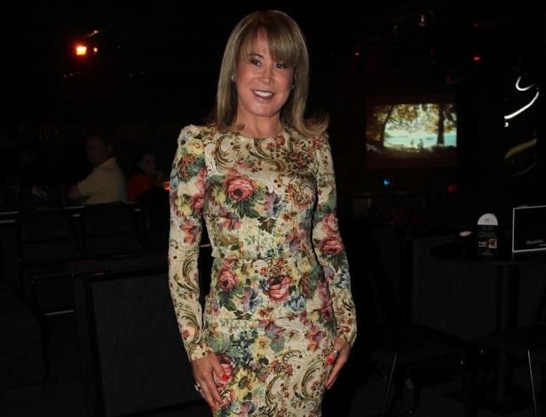 Zilu Camargo prestigia a gravação do segundo DVD da filha Wanessa na casa de shows HSBC Brasil, em São Paulo (15/11/12)