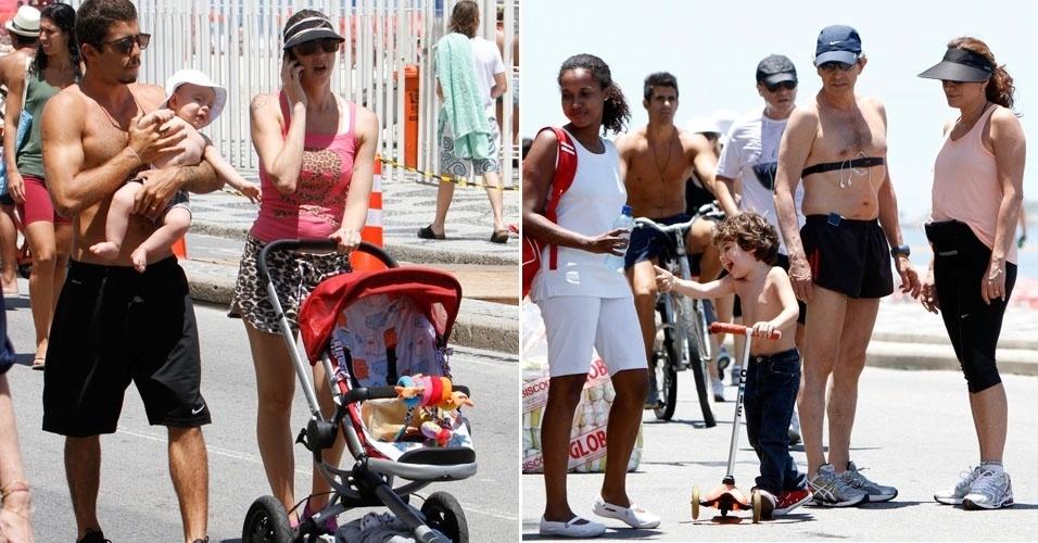 As atrizes Luana Piovani (foto à esq) e Totia Meirelles aproveitam o fim de semana para passear com a família na orla do Leblon, no Rio de Janeiro (18/11/12)