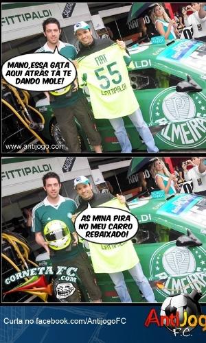 Carro rebaixado do Palmeiras faz sucesso