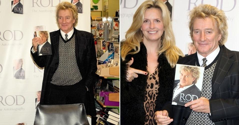 """O cantor Rod Stewart autografa sua autobiografia, """"Rod: The Autobiography"""" junto com sua mulher, Penny Lancaster, em Londres (18/11/12)"""