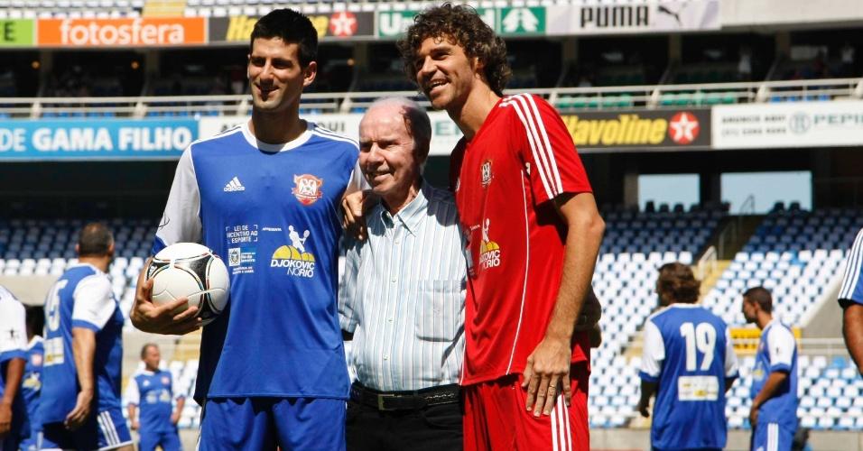 Zagallo esteve no Engenhão no domingo para prestigiar a partida entre o time de Guga e de Djokovic