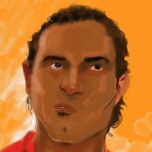 Ilustração do goleiro Bruno Fernandes de Souza durante seu julgamento no fórum de Contagem (MG), em novembro de 2012