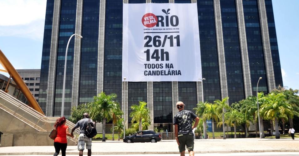 Governo convoca a população do Rio de Janeiro para participar do ato contra projeto de lei que altera a distribuição dos royalties do petróleo. O protesto será realizado no dia 26 de novembro, no centro do Rio