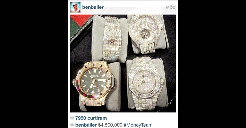 Muitos usuários do Instagram aproveitam a visibilidade da rede social de fotos para esbanjar: são relógios, carros, casas, sapatos, roupas e até maços de dinheiro fotografados, para quem quiser ver. Acima, imagem selecionada pelo UOL Tecnologia com base na proposta do Tumblr ''Rich Kids of Instagram'', que mostra os (supostos) endinheirados desta rede