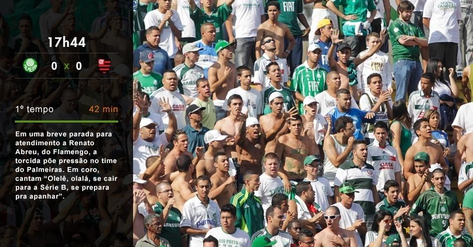 17h44 - Em uma breve parada para atendimento a Renato Abreu, do Flamengo, a torcida põe pressão no time do Palmeiras. Em coro, cantam