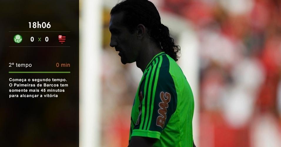 18h06 - Começa o segundo tempo. O Palmeiras de Barcos tem somente mais 45 minutos para alcançar a vitória
