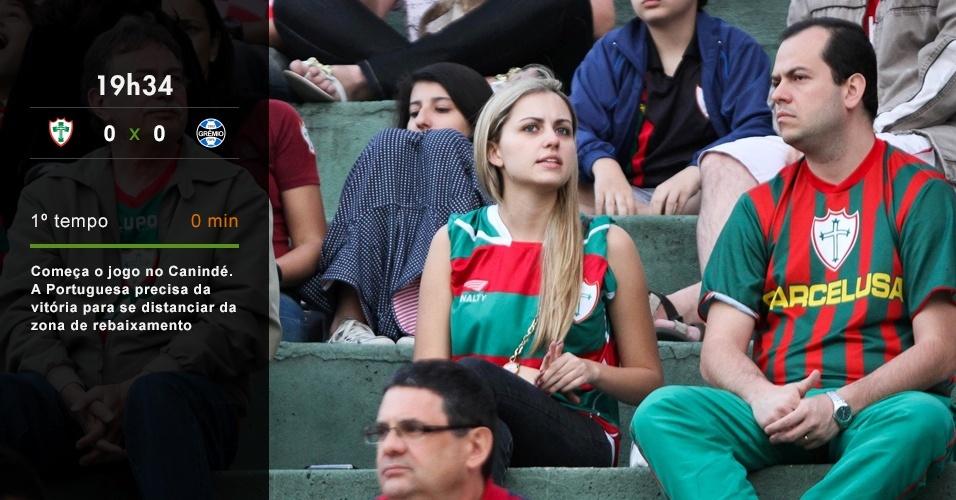 19h34 - Começa o jogo no Canindé. A Portuguesa precisa da vitória para se distanciar da zona de rebaixamento