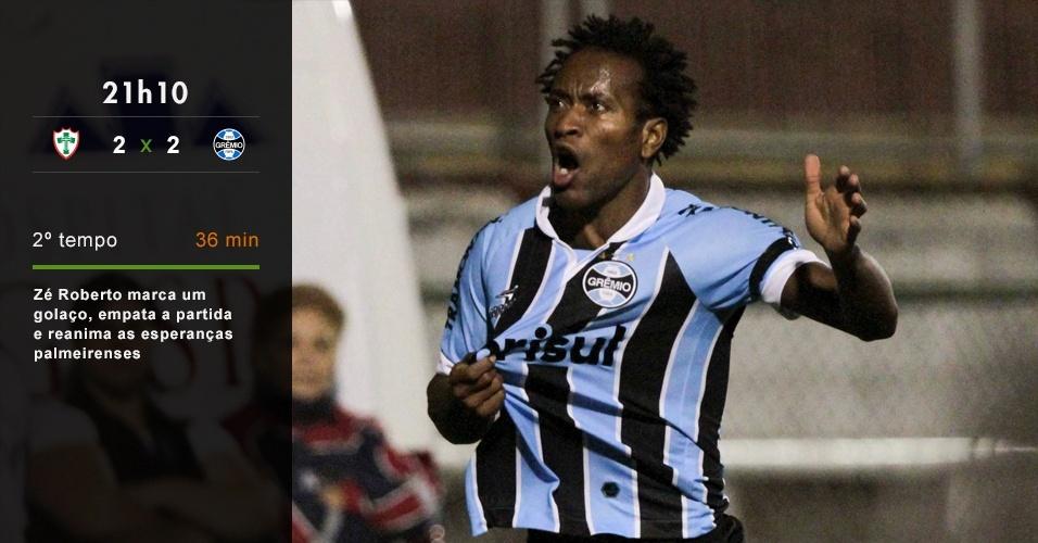 21h10 - Zé Roberto marca um golaço, empata a partida e reanima as esperanças palmeirenses