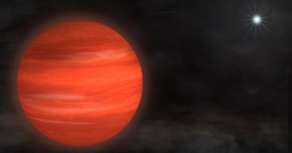 """22.nov.2012 - Astrônomos detectaram um novo corpo celeste que tem 12,8 vezes o tamanho de Júpiter na órbita da Kappa Andromeda, uma estrela a 170 anos-luz da Terra e que tem 2,5 vezes a massa do Sol. Os pesquisadores da Nasa (Agência Espacial Norte-Americana) dizem que o """"charme"""" da Kappa Andromedae b é a sua ambiguidade: pode ser tanto um exoplaneta (planeta fora do Sitema Solar) quanto uma anã-marrom (objeto maior que os planetas, mas menor que as estrelas)"""