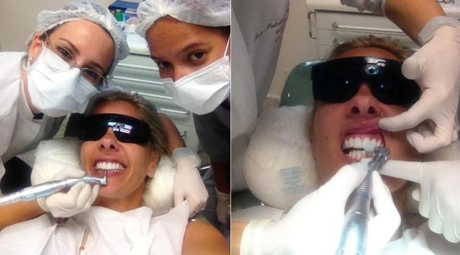 Adriane Galisteu esteve no dentista para fazer uma limpeza nos dentes (22/11/12).