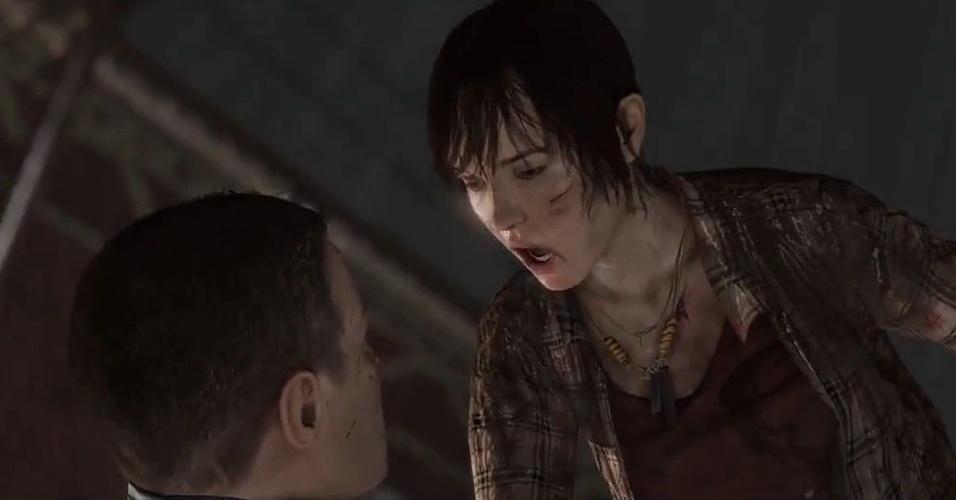 """""""Beyond: Two Souls"""" é um jogo de ação com enfoque no drama e que mostra a relação entre uma garota comum com um ser paranormal"""