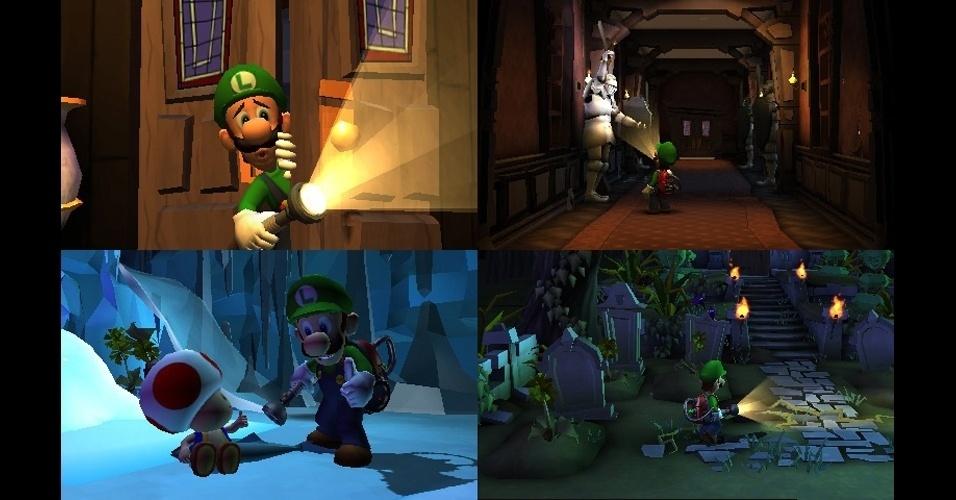 """Depois de muito tempo, Luigi voltará a protagonizar um game em """"Luigi's Mansion: Dark Moon"""" para 3DS"""